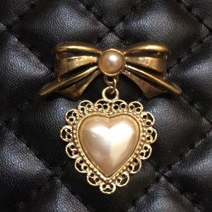 Vintage Gold Victorian Revival Pearl Brooch